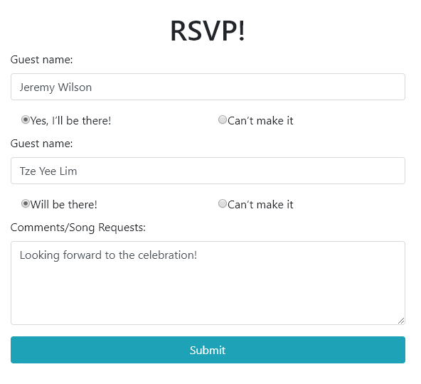 RSVP Page
